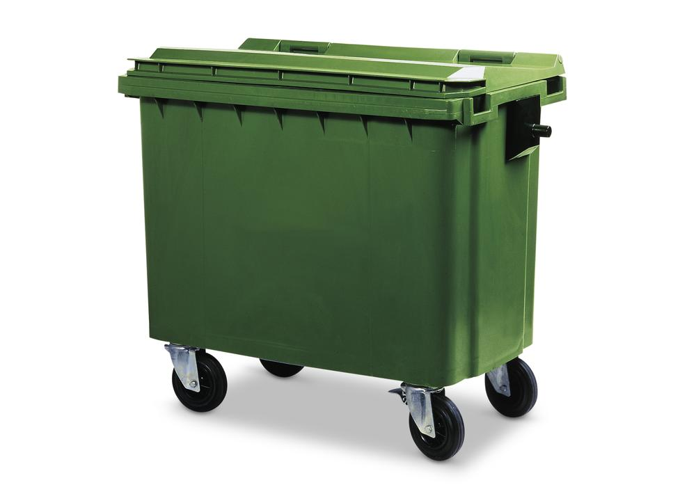 Large wheelie bins made from Polyethylene (PE), 660 litre volume, green