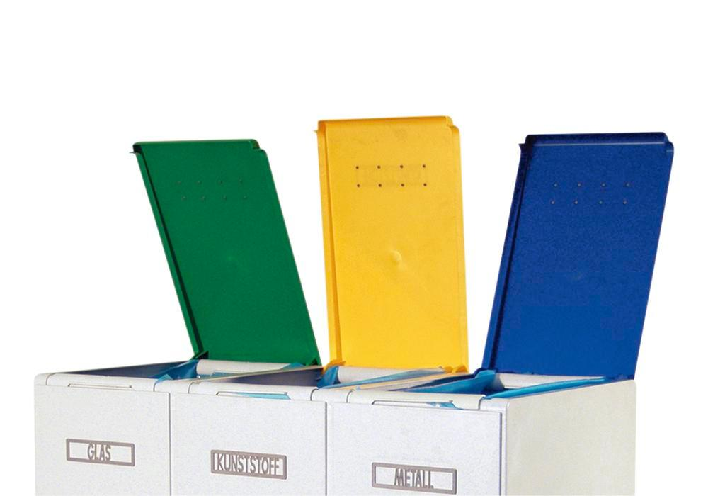 Lid for modular waste collection system for recyclable materials, 60 litres, blue - 1