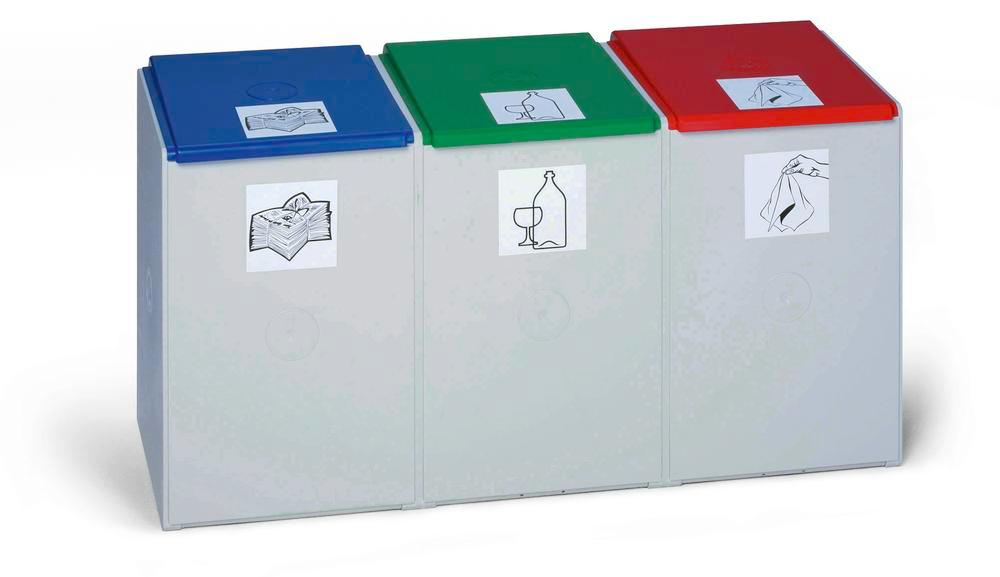 Lid for modular waste collection system for recyclable materials, 60 litres, red - 1