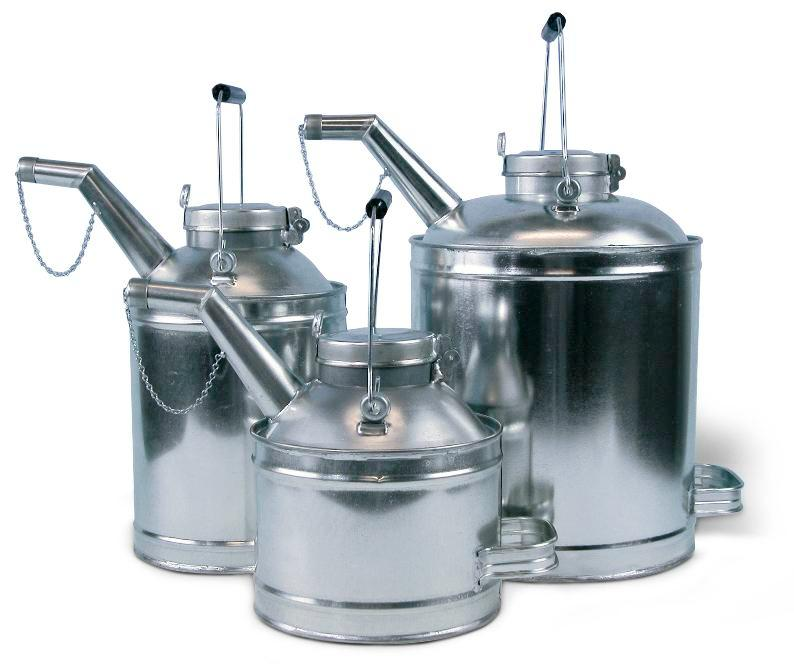 Oil can, galvanized steel, 15 litre capacity