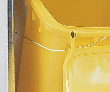 Refuse bin tipping equipment (rails and cable)