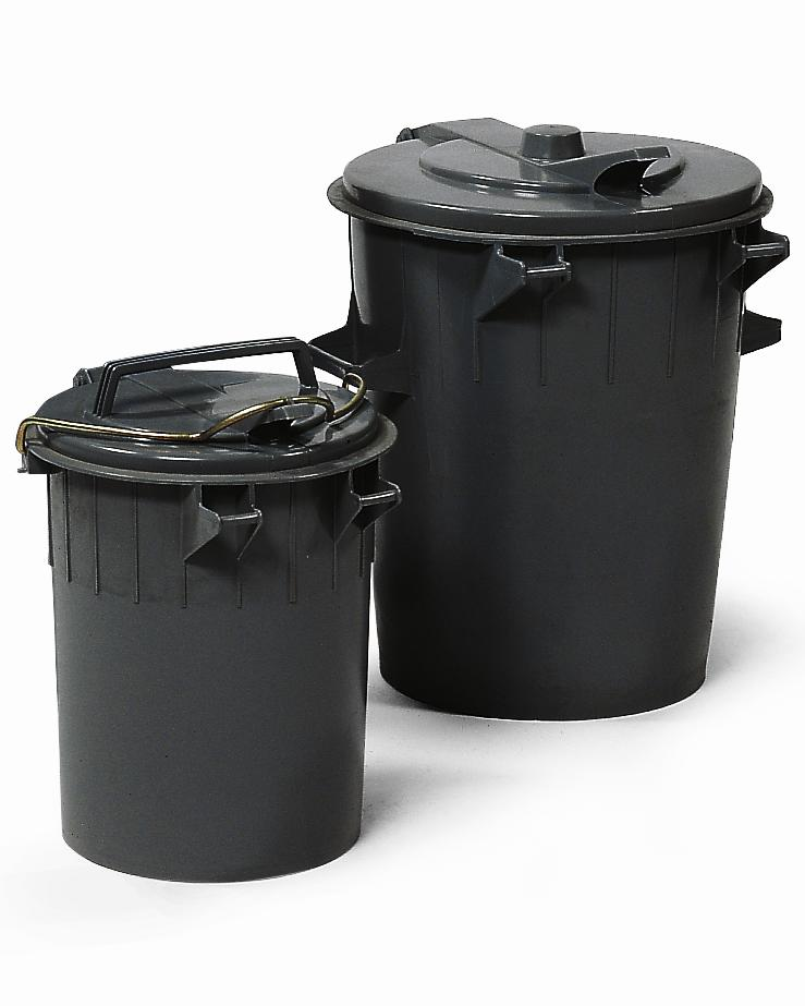 Round dustbin, polyethylene, with lid, 70 litre capacity, black