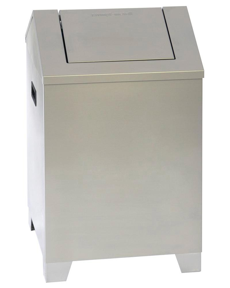 Self-extinguishing recycling bin, stainless steel, 73 litre capacity