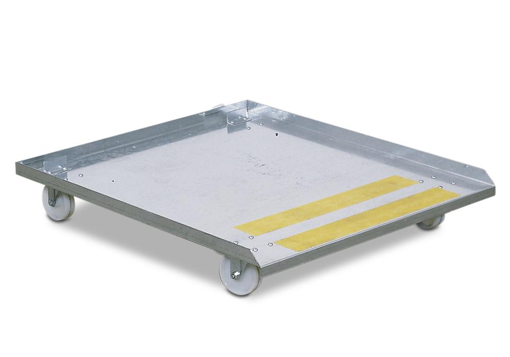 Trolley for parts cleaning table bio.x C500, C800, T700, L500 and L800, 4 castors, 2 with brakes