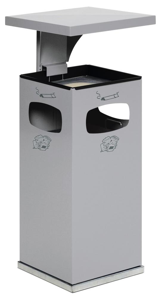 Waste bin/ash tray combination, steel, with removable protective hood, 38 litre capacity, silver