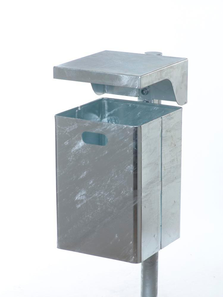 Waste bin galvanized steel, without ash tray, with protective cover, 50 litre capacity
