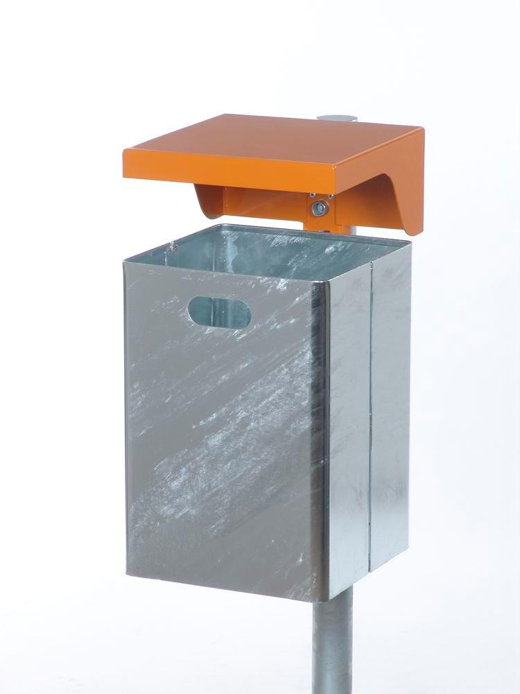 Waste bin in steel, with protective cover, 40 litre capacity, orange