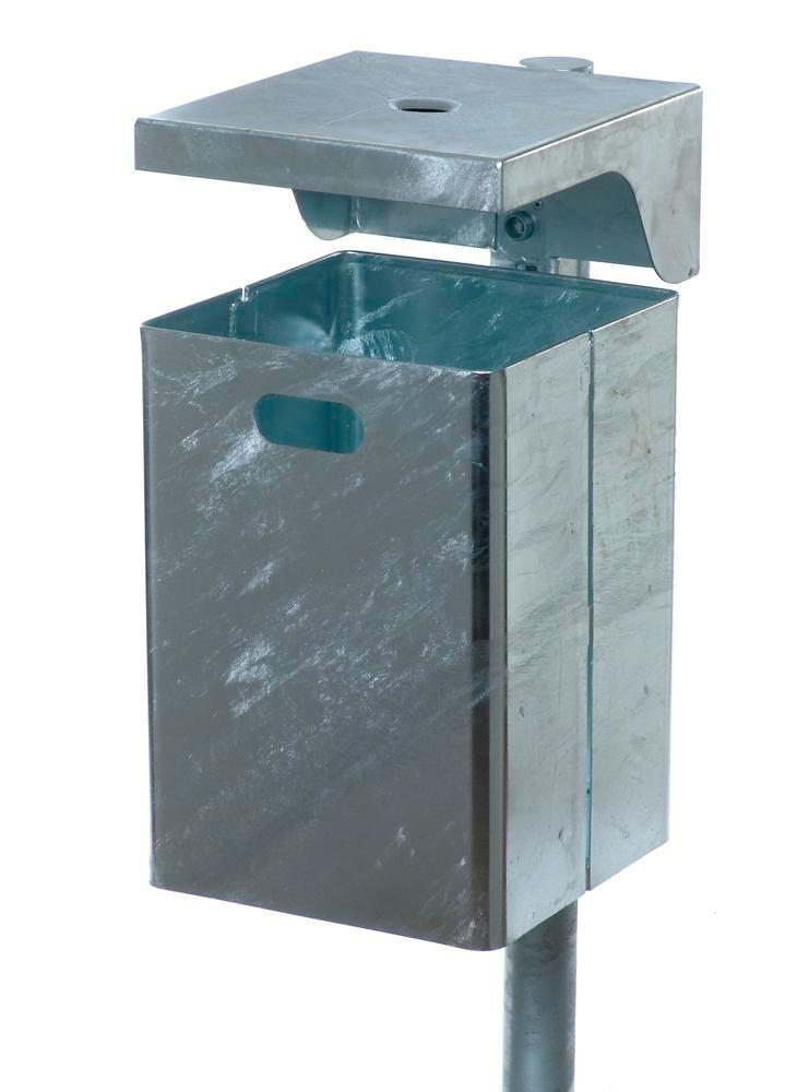 Waste bin in steel, with protective cover and ashtray, 50 litre capacity, galvanised