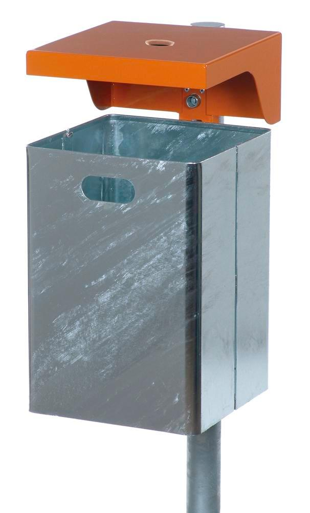 Waste bin in steel, with protective cover and ashtray, 50 litre capacity, orange