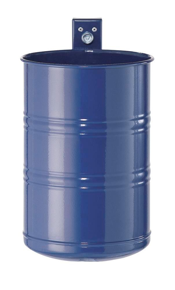 Waste bin, painted steel, closed design, 20 litre capacity, blue
