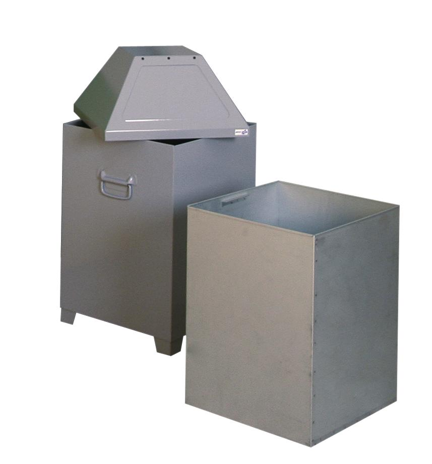 Waste container AB 100, sheet steel, self-closing flap on lid, 95 litre capacity, light silver