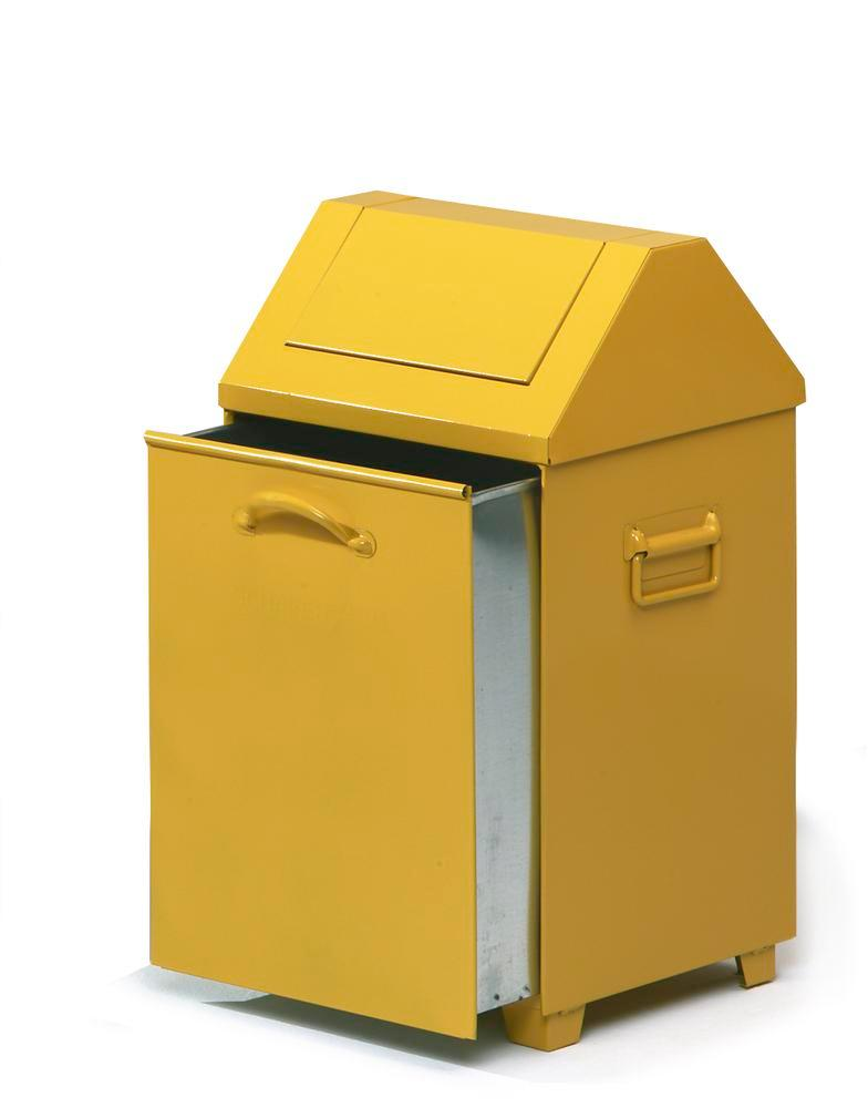 Waste container AB 100-V, sheet steel, self-closing flap on lid, 80 litre capacity, yellow