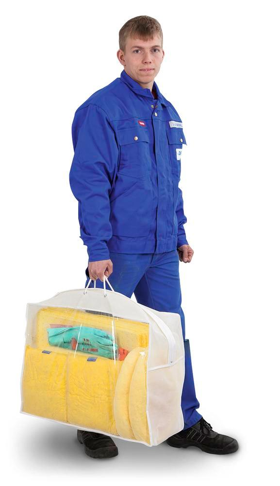 DENSORB Emergency Spill Kit in transparent carry case, application SPECIAL