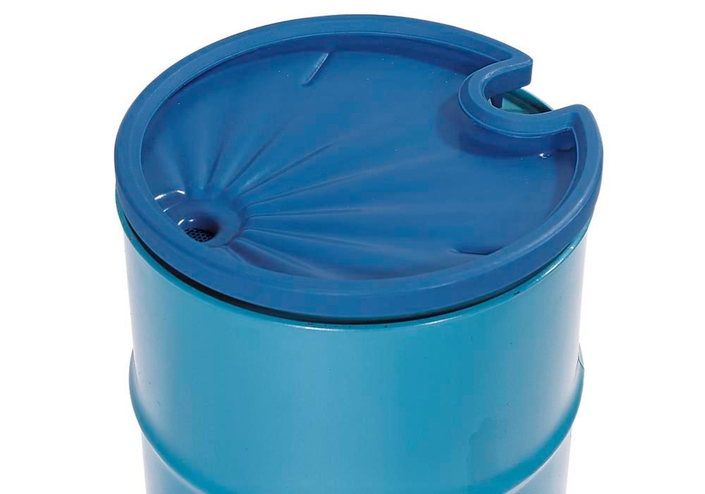 Drum funnel in polyethylene (PE), round, 5 L volume, with strainer