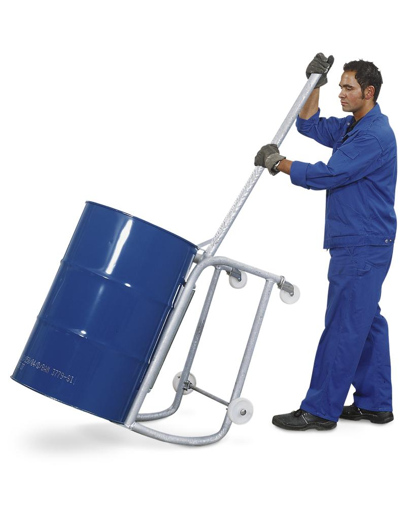 Drum tipper with handle, manufactured from galvanized steel, for 1 drum holding 205 litres