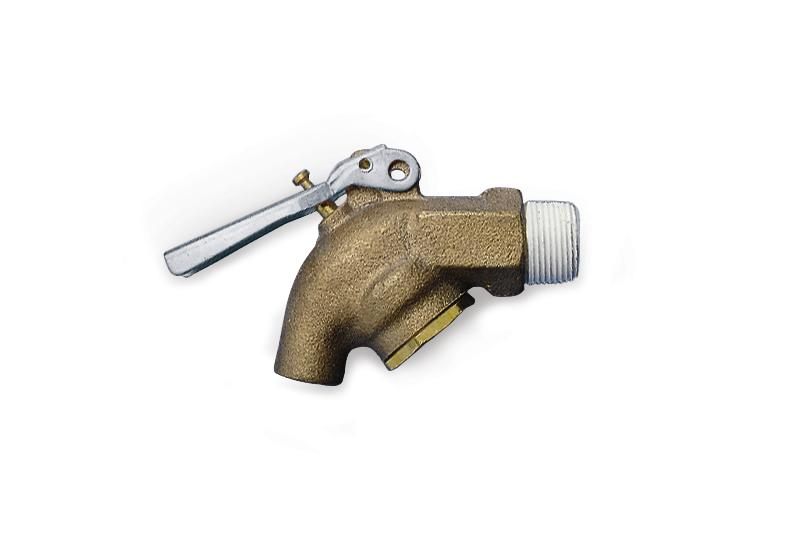 "Brass tap ¾"" for aggressive liquids, self closing"
