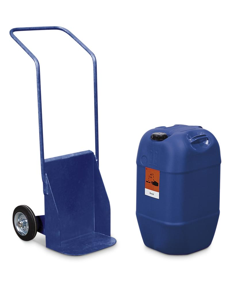 Carboy trolley BK-60, painted blue, solid rubber wheels, for containers up to 60 litre, anti-static