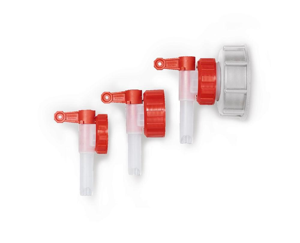 Dispensing tap AH 51, plastic, for plastic canisters, with Ø 13 mm tap, outside thread Ø 55 mm