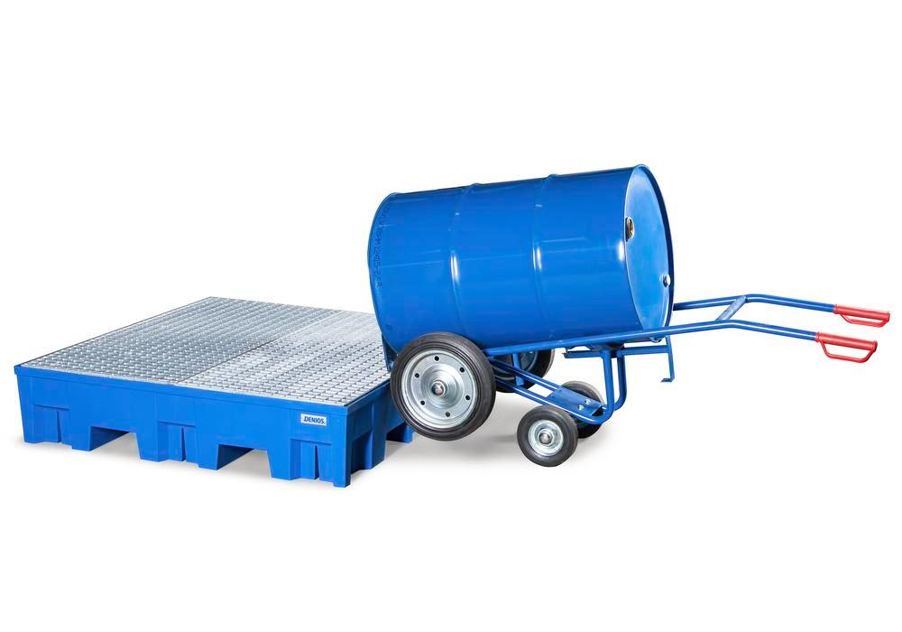 Drum cart FKR-S2 steel, blue, solid rubber tyres, 2 support wheels, for 205/220-l drums, anti-static