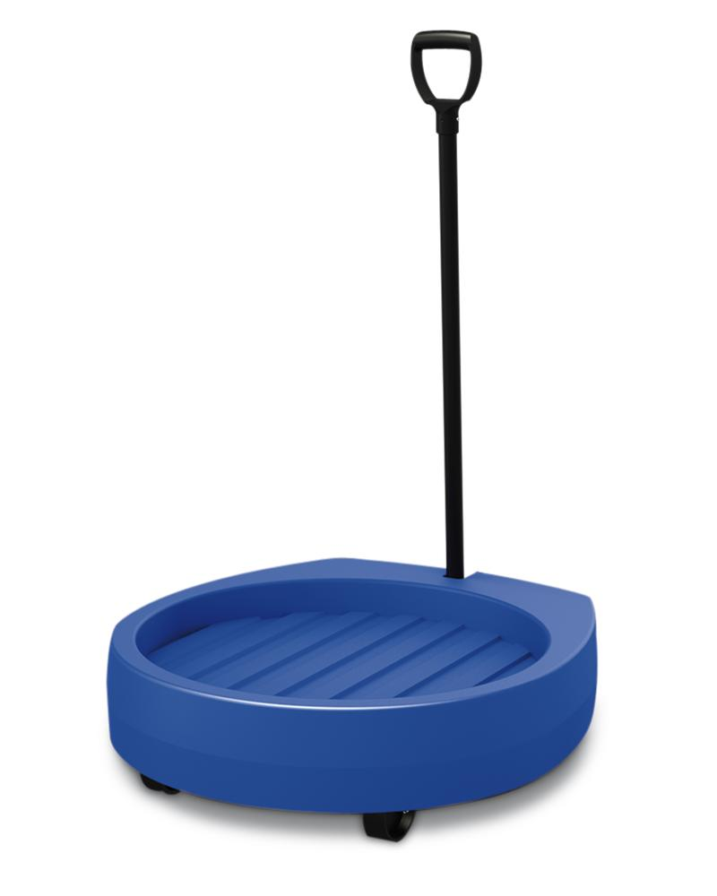 Drum dolly Poly200 D made from Polyethylene, with drawbar, 2 fixed castors, 2 swivel castors, blue