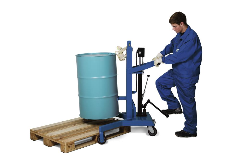 Drum lifter LD in steel, painted, square frame, for 205 litre steel drums