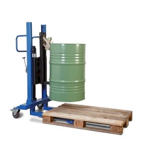 Drum lifter Servo, drum gripper, 60 to 205 litre steel drums, narrow chassis, lift height 120-740 mm-w280px