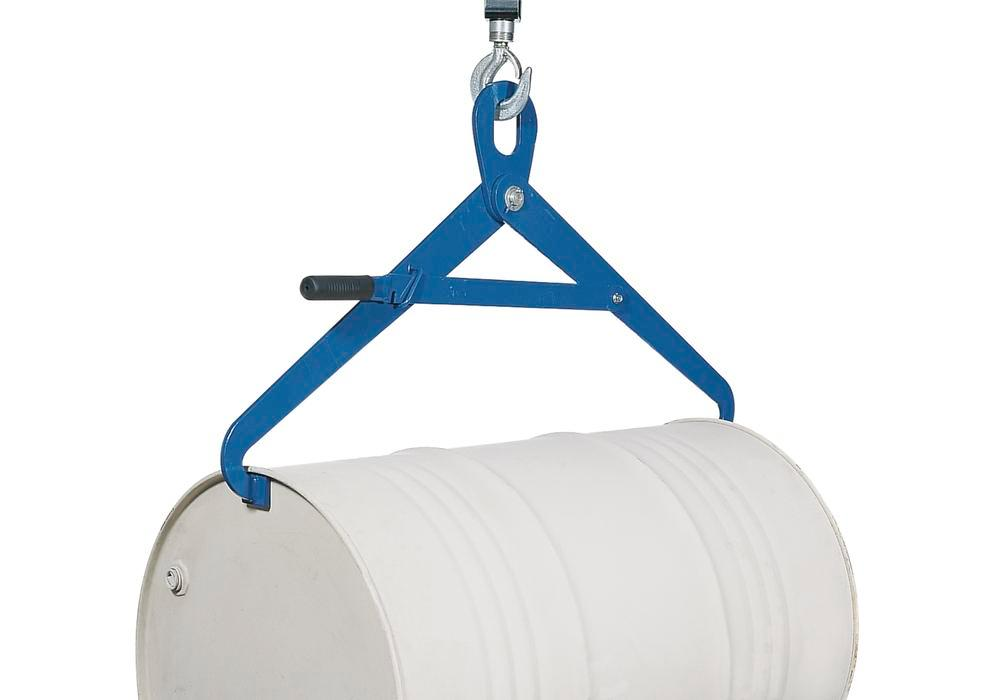 Drum tongs FZ 500-H for lifting 205 litre horizontal drums, with locking mechanism