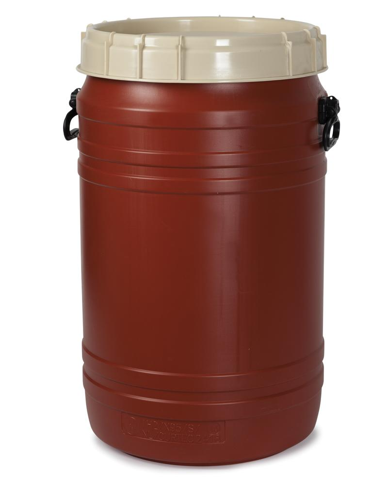 Extra wide open head drum SWH 75, made from Polyethylene (PE), 75 litre volume, brown/ beige