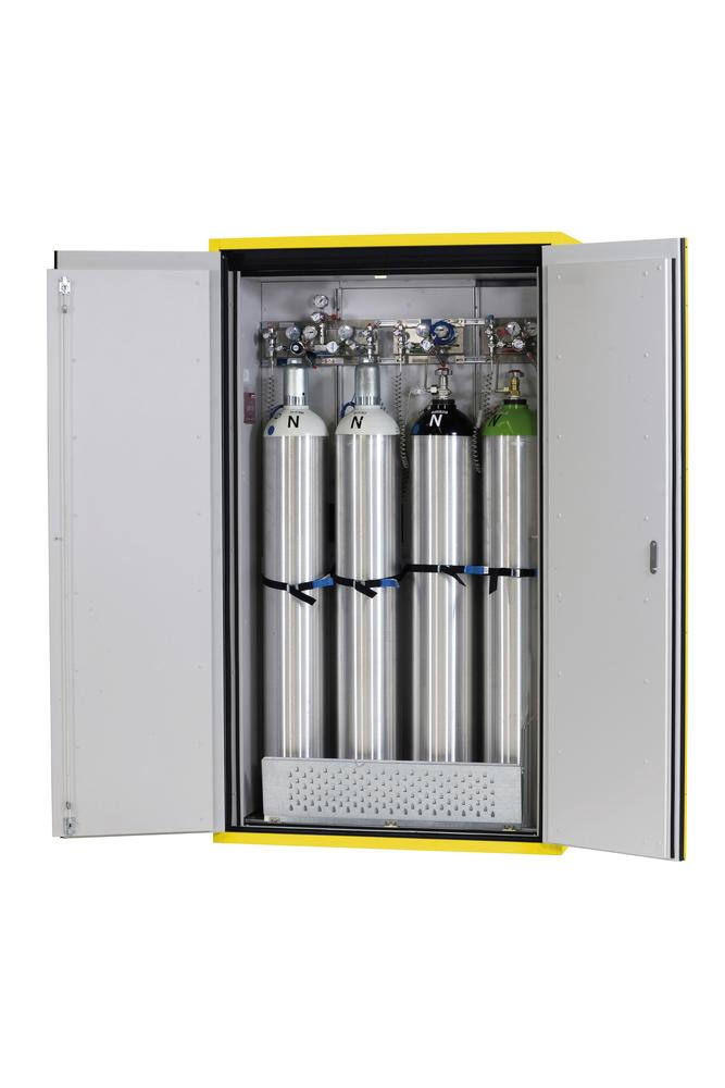 Fire-resistant compressed air gas cylinder cabinet G90.12, 1200 mm wide, 2 hinged doors, yellow