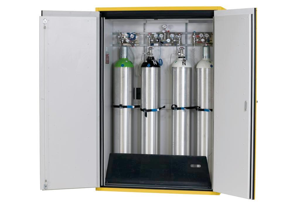 Fire-resistant compressed air gas cylinder cabinet G90.14, 1400 mm wide, 2 hinged doors, yellow