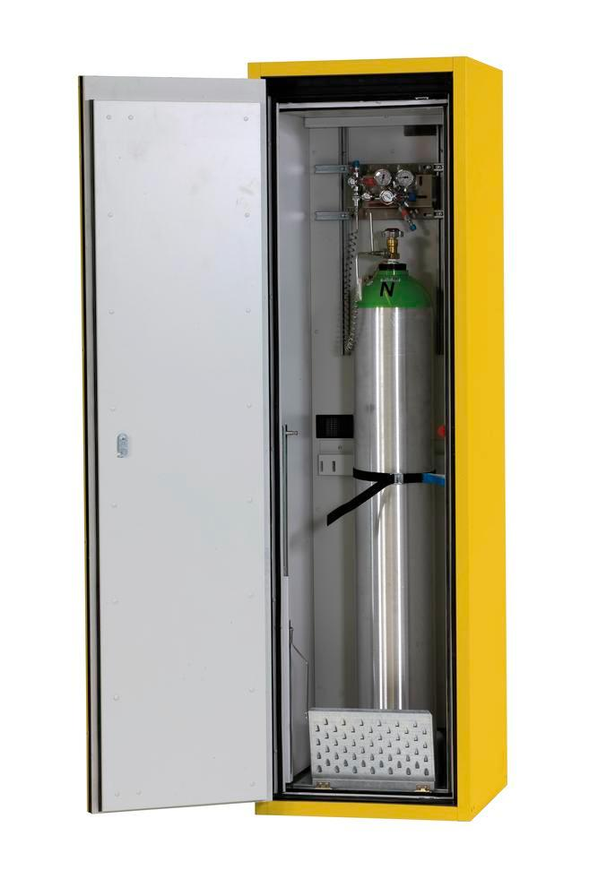 Fire-resistant compressed air gas cylinder cabinet G90.6, 600 mm wide, hinged on left, yellow