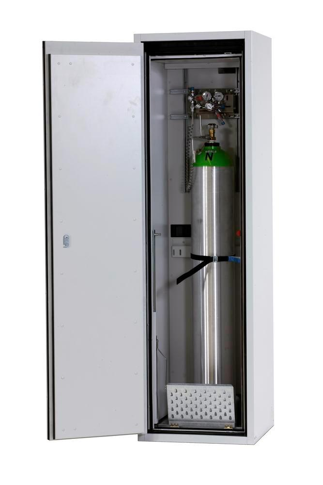 Fire-resistant compressed air gas cylinder cabinet G90.6, 600 mm wide, hinged on right, grey