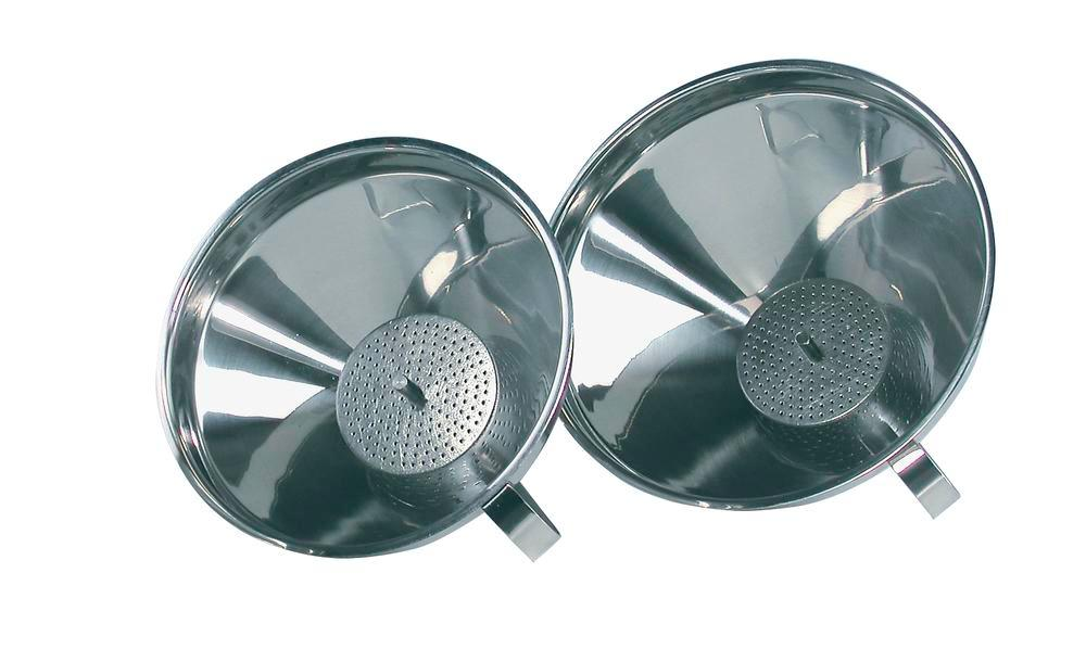 Funnel, stainless steel, with strainer and handle, Ø 120mm