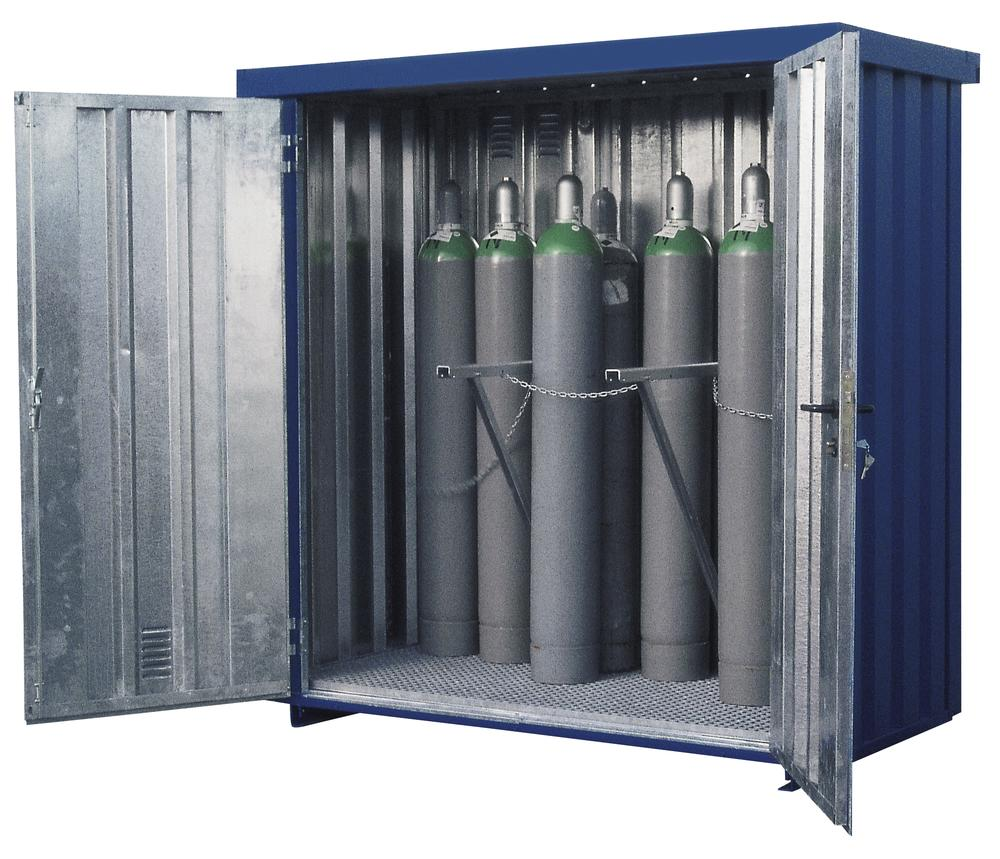 Gas Cylinder Container MDC 210, galvanized & painted, storage capacity 21 x Ø 220mm gas cylinders