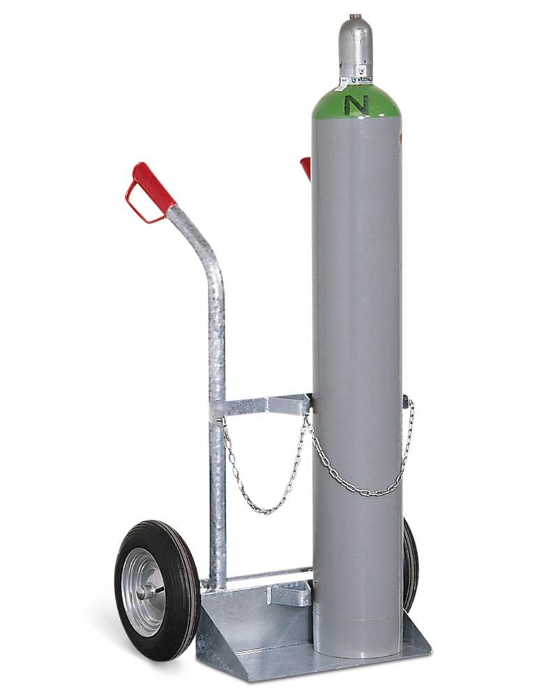 Gas cylinder trolley GFR-2, steel, for 2 gas cylinders, pneumatic wheels