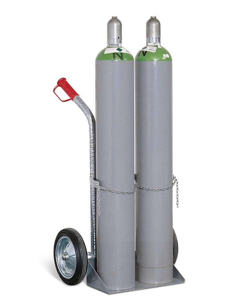 Gas cylinder trolley GFR-2, steel, for 2 gas cylinders, solid rubber wheels