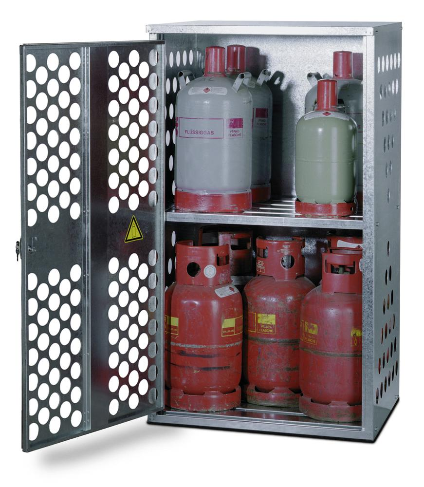 Liquid gas cabinet, FGF 801 for 4 x 33 or 10 x 11 kg cylinders, 1 wing door, opens on the right