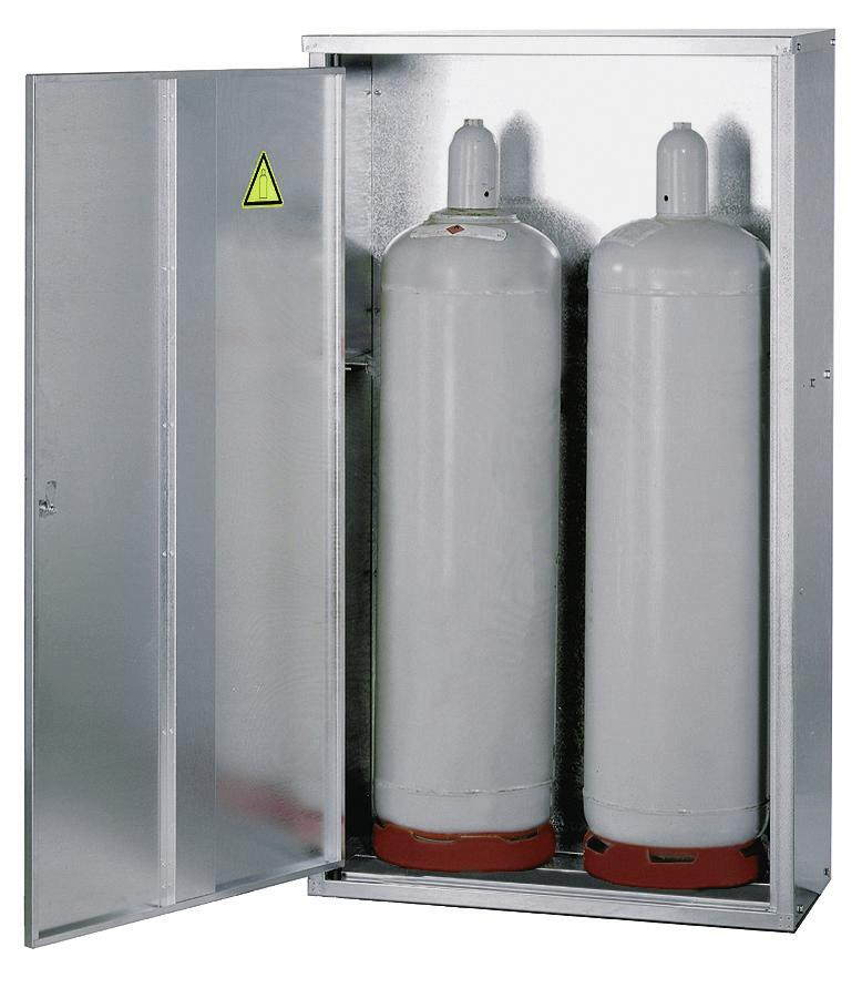 Liquid gas cabinet, ST 23 for 2 x 33 kg cylinders, walls with no perforations and 1 wing doors