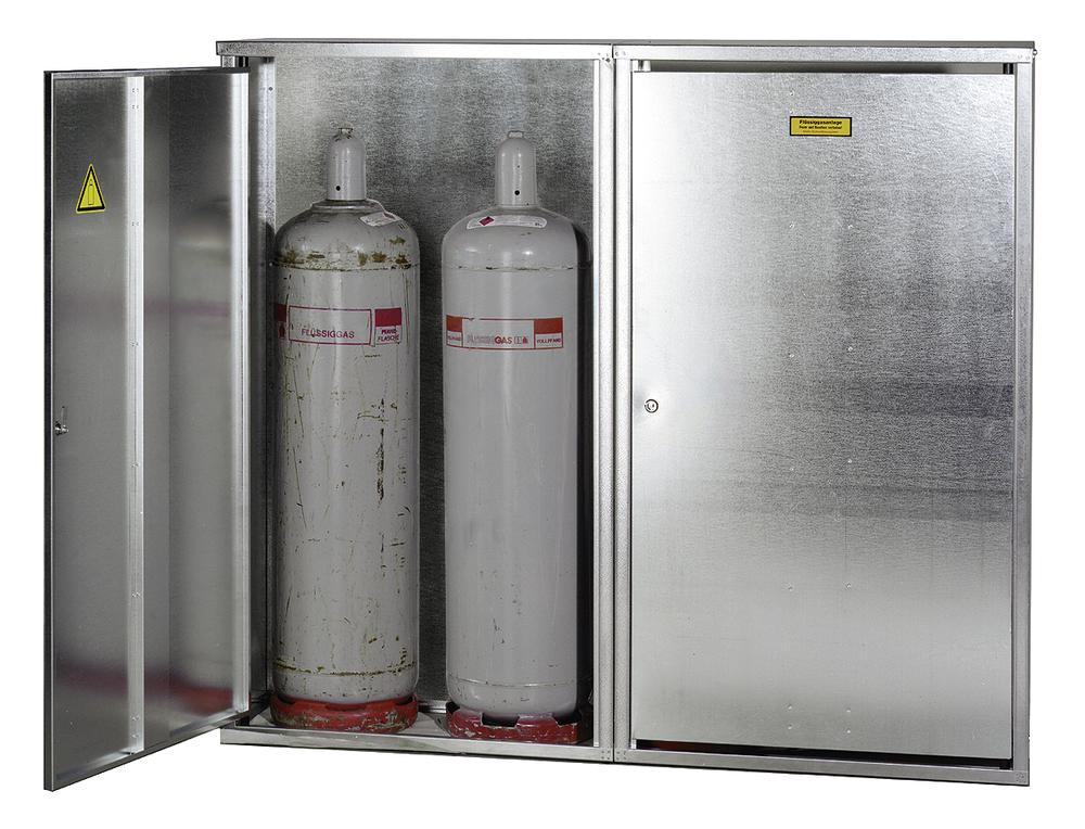 Liquid gas cabinet, ST 40 for 4 x 33 kg cylinders, walls with no perforations and 2 wing door