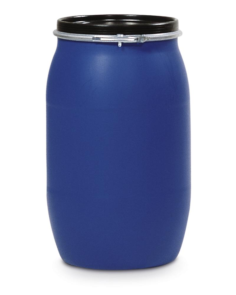 PE Drum, With Lid and Adaptor Ring, 120l, Blue