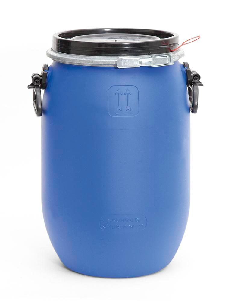 PE Drum, With Lid and Adaptor Ring, 30l, Blue