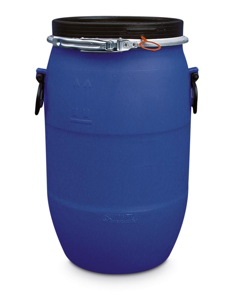 PE Drum, With Lid and Adaptor Ring, 60l, Blue