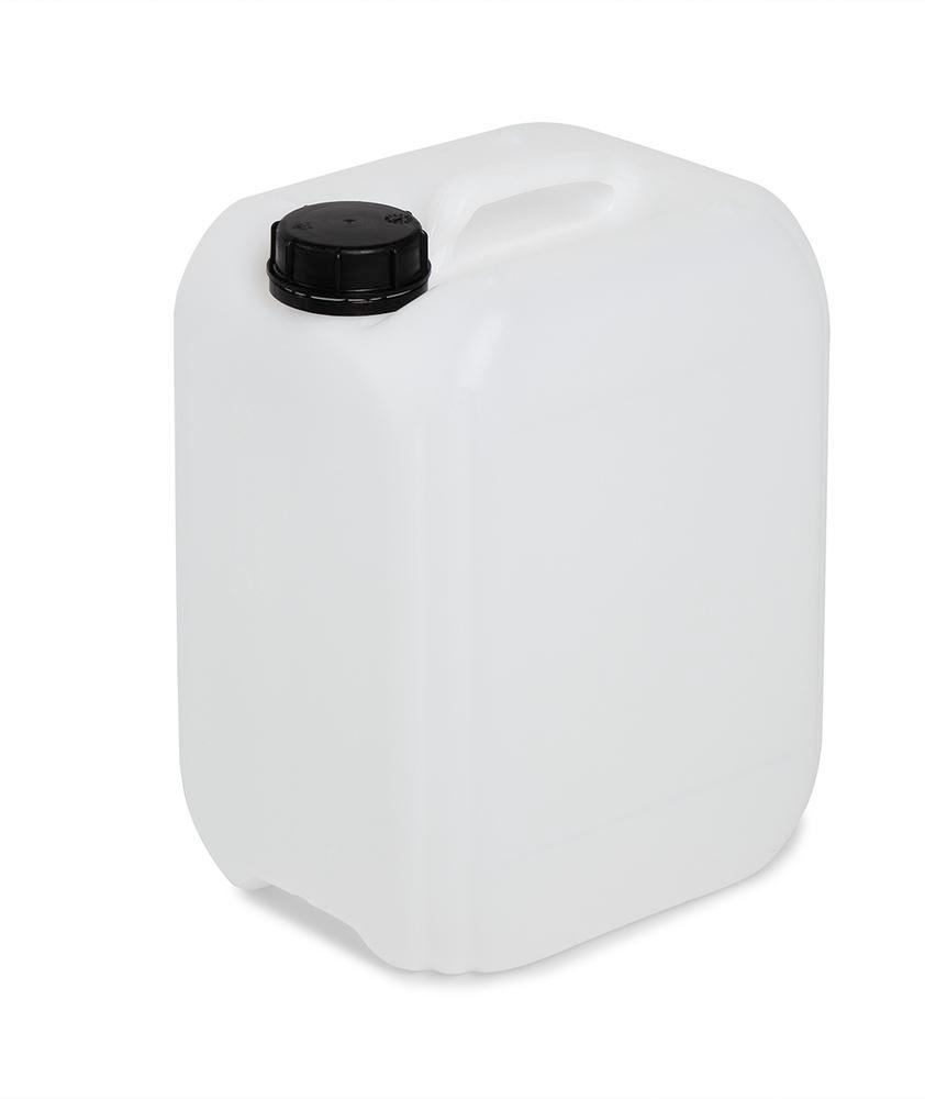 Plastic canister in polyethylene (PE), 10 litre volume, transparent white
