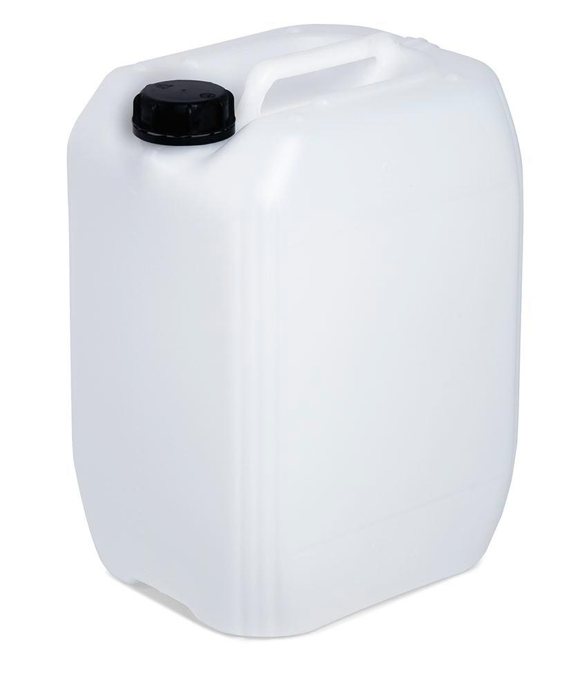 Plastic canister in polyethylene (PE), 20 litre volume, transparent white