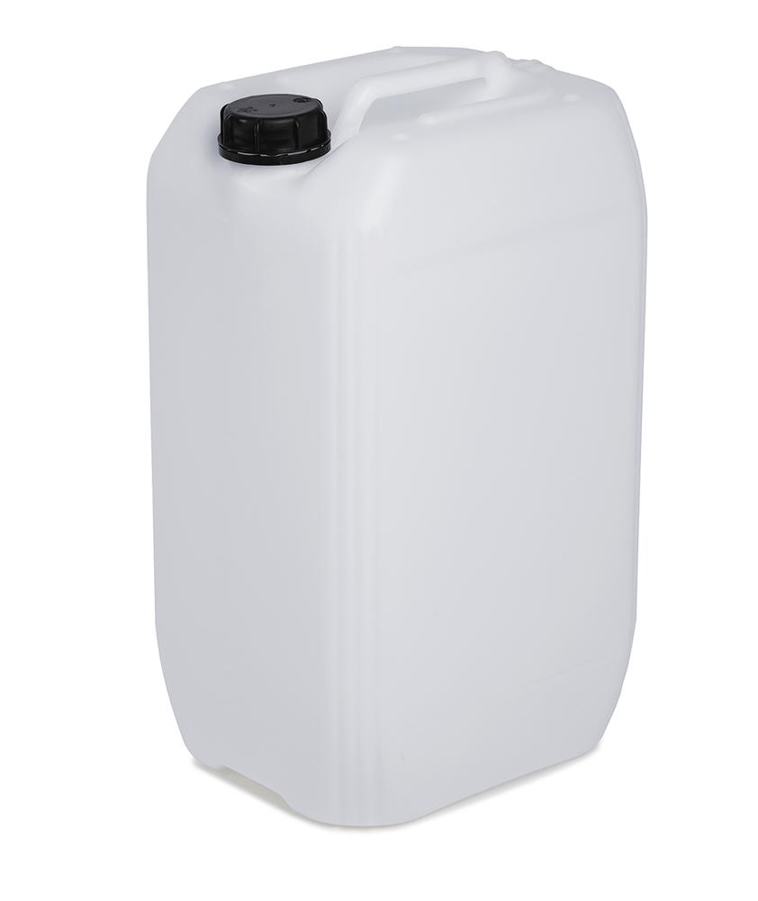 Plastic canister in polyethylene (PE), 25 litre volume, transparent white