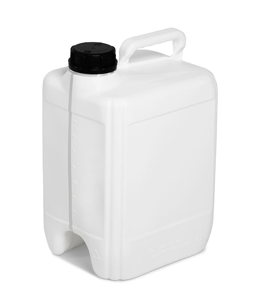 Plastic canister in polyethylene (PE), can be fully emptied, 10 litre volume, white