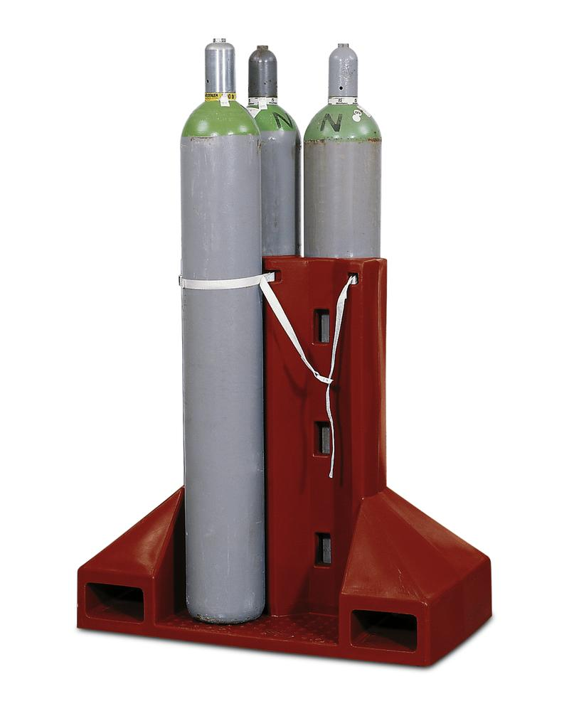 Polyethylene gas cylinder pallet, GFP-4, for up to 4 gas cylinders with securing strap