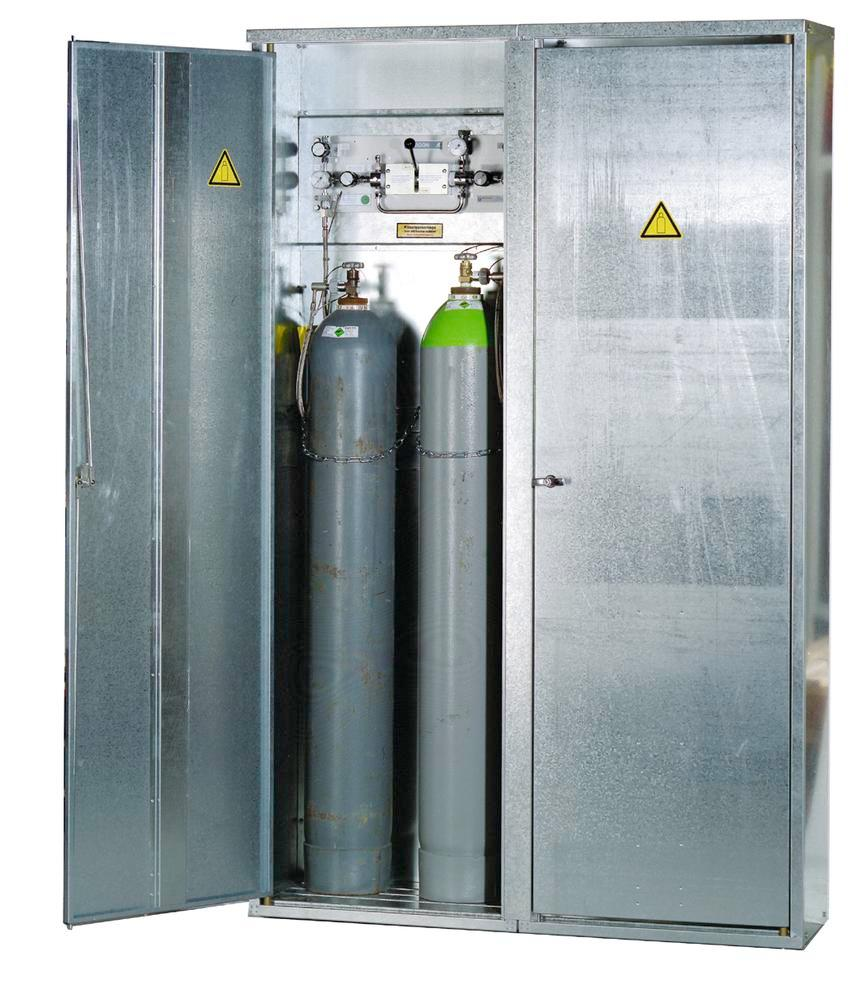 Pressurised gas cylinder cabinets DGF 6 for 6 gas cylinders each holding 50 litres, single skinned