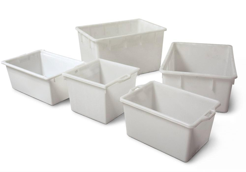 Rectangular container, polyethylene, 60 litre capacity, resistant to many acids and alkalis, white
