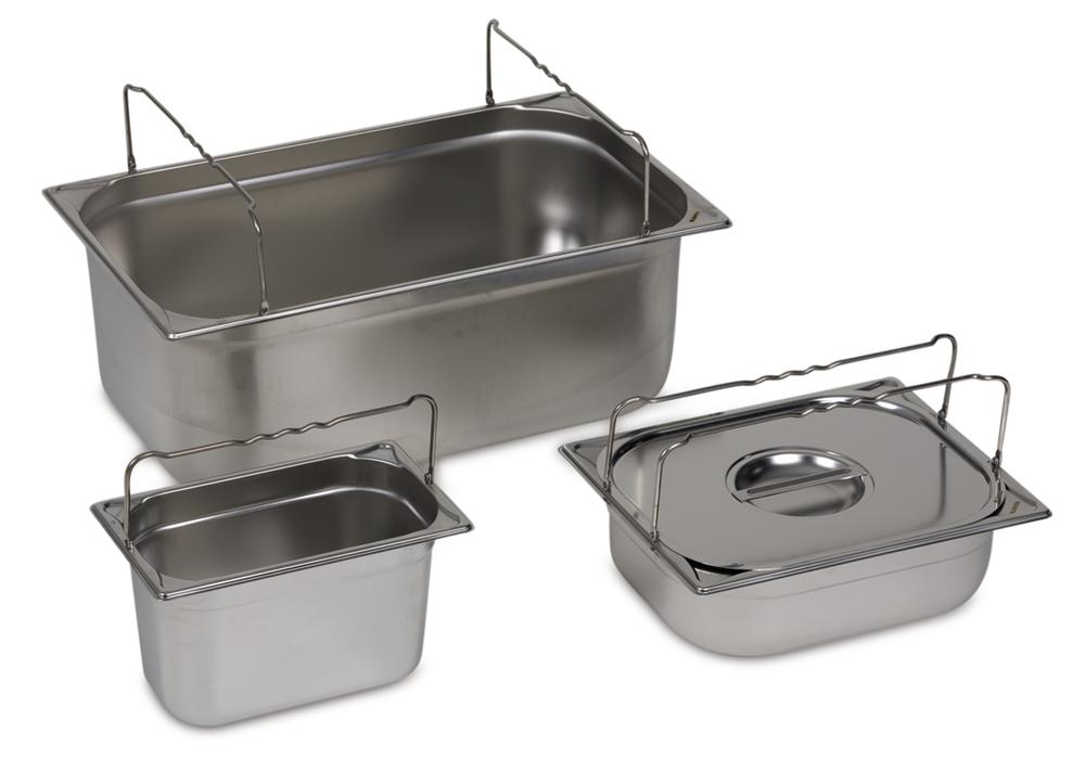 Small container GN-B 2/3-150, stainless steel, with handle, 12.7 litre capacity